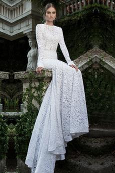 Krajka Vinobraní Přirozeného pasu Jaro Sál Dlouhé rukávy Svatební šaty