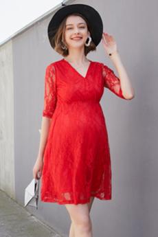 Krátký Krajka V-krk Polovina rukáv Oslava Elegantní Večerní šaty