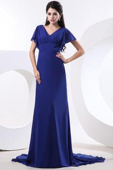 Říše pasu Šifón Zip nahoru Tmavě modrá Dlouhá Skromný Matky šaty