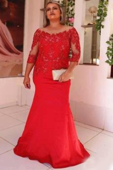 Délka podlahy Krajkou Overlay Přírodní pas Matka nevěsty šaty