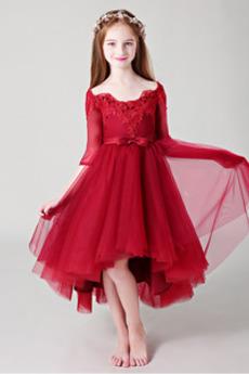 Zip nahoru Asymetrické Přírodní pas T-shirt rukáv Květinové dívky šaty