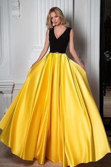 A-Čára V-krk Zip nahoru Podzim Střední Představení Promové šaty
