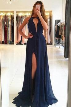 Dlouhý Sexy Rozdělit přední Šifón A-Čára Léto Přírodní pas Promové šaty