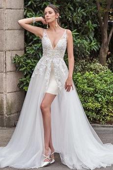 Krajka V-krk Satén Dlouhý Přírodní pas Romantický Svatební šaty