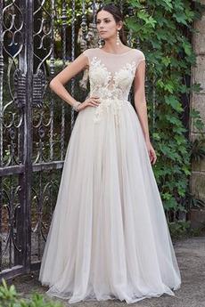 Tyl A-Čára Přikrýt Přírodní pas Bezzadu Elegantní Svatební šaty