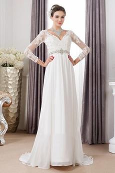 Háček okrajů Korálkový pás Jaro Dlouhý V-krk Vysoký pasu Svatební šaty