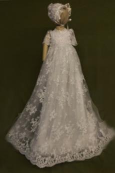Krajka Princezna Dlouhý T-shirt rukáv Šperk Luk Drobounký Křest šaty