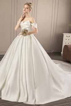 Krátký rukáv Přikrýt Skládaný živůtek stydlivý Svatební šaty