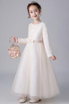 Krajkou Overlay Šperk Luk Dlouhé rukávy Krajka Květ dívka šaty
