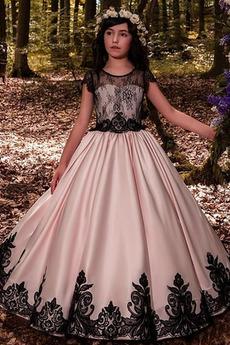 Krajka Přirozeného pasu A-Čára S hlubokým výstřihem Květ dívka šaty