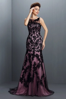 Klíčová dírka zpět Bateau Nášivky Krajkou Overlay Promové šaty