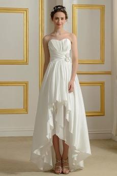 Asymetrické S hlubokým výstřihem Bez rukávů Přírodní pas Svatební šaty