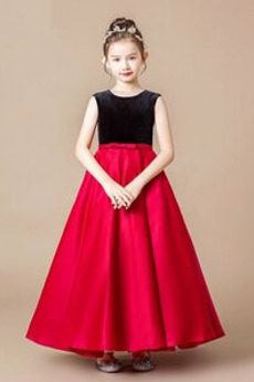 Zip Přikrýt Drahokam Samet Zimní Kotníky Květinové dívky šaty