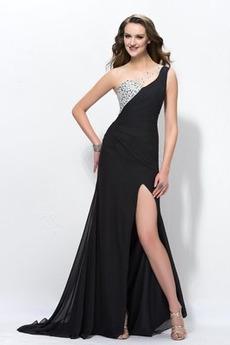 Dlouhý Přirozeného pasu Jedno rameno A-Čára Střední záda Večerní šaty