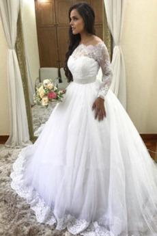 Tyl Nášivky A-Čára Formální Korálkový pás Soud vlak Svatební šaty