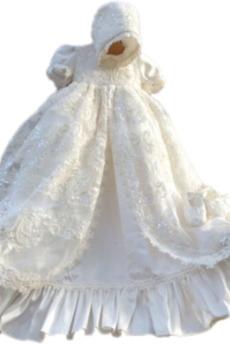 Krátké rukávy Satén Vysoká krk Vysoká krytina Dlouhý Křest šaty