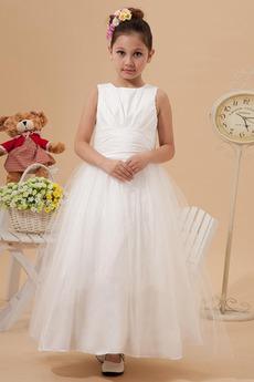 Princezna Tyl překrytí Přírodní pas Kotníky Bílá Květ dívka šaty