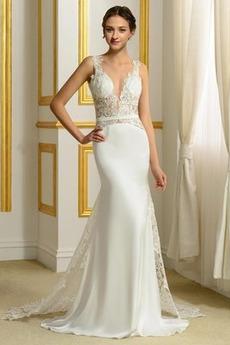 V-krk Elegantní Satén Bez rukávů Drobounký Přírodní pas Svatební šaty