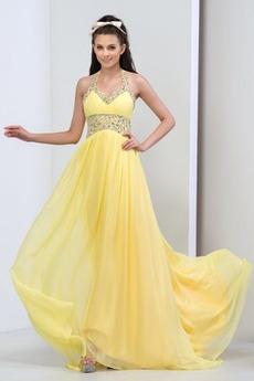 Míč Zamést vlak Střední Formální Přikrýt Šifón A-Čára Promové šaty