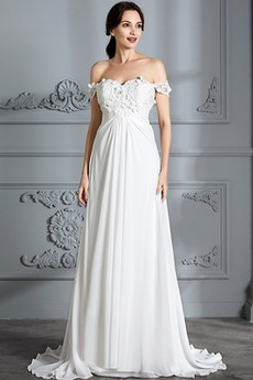 Vysoký pasu Rosný rameno Skládaný živůtek Pláž Svatební šaty