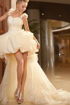 Tenká Široké popruhy Asymetrické Pláž Přírodní pas Svatební šaty