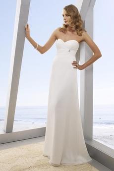 Délka podlahy Říše Šifón Lištování Miláček Skládaný živůtek Svatební šaty