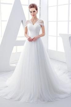 Tyl Přírodní pas Skládaný živůtek Krátké rukávy Svatební šaty
