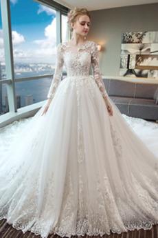 Krajka Zima Dlouhý rukáv Tyl Dlouhý Sál Luxusní Svatební šaty