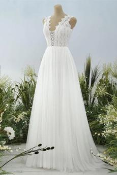 Bezzadu Délka podlahy Přírodní pas Krajka Elegantní Svatební šaty