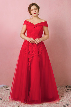 Formální Rovné rameno Krajka Krátké rukávy Víčko Promové šaty