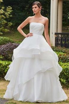 A-Čára Zima S hlubokým výstřihem Stupňovitý Délka patra Svatební šaty