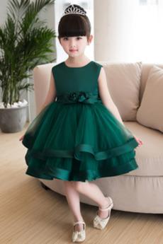 A-Čára Kolena délka Bez rukávů Elegantní Květinové dívky šaty