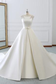 Bezzadu Satén Luk S diakritikou luk Přirozeného pasu Svatební šaty