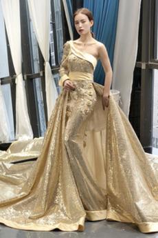 Dlouhý Přikrýt Jedno rameno Výkon Přirozeného pasu Promové šaty