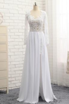 Dlouhý rukáv Délka podlahy Jaro Iluze Elegantní Svatební šaty