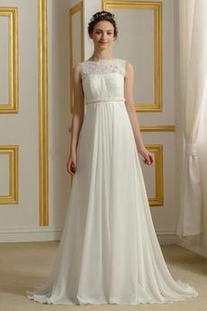 Krajkou Overlay Říše Trojúhelník záhyb Elegantní Svatební šaty