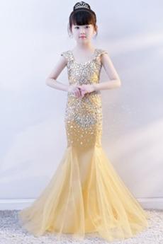 Tyl Mořská panna Zamítnuté pasu Lištování Květinové dívky šaty
