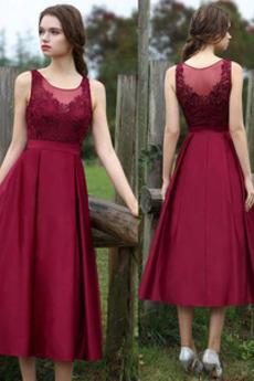 Střední Krajka Přirozeného pasu Krajkou Overlay Večerní šaty