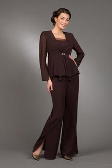 Oblek kalhoty Jednoduchý Náměstí Šifón Kancelář Matka šaty obleky