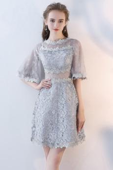 Krátká Podzim Krajka Střední Polovina rukáv Elegantní Koktejlové šaty