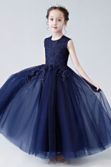 A-Čára Krajka Bez rukávů Střední Svatba Květinové dívky šaty