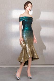 Přirozeného pasu Zip nahoru Rovné rameno Asymetrické Promové šaty