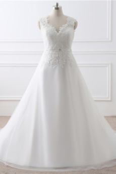 Krajka Sál A-Čára V-krk Dlouhý Krajka Formální Svatební šaty