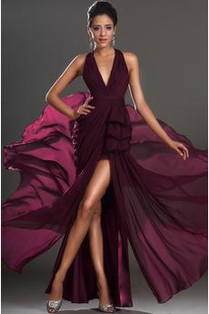 Sexy Skládaný živůtek Vysoká nízká Přirozeného pasu Promové šaty