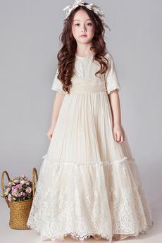Krátké rukávy Délka kotník A-Čára T-shirt rukáv Květinové dívky šaty