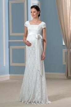 Mateřství S diakritikou luk Elegantní Délka podlahy Svatební šaty