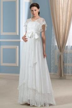 Krátký rukáv Plisovaný Šik Vysoký pasu V-krk Asymetrické Svatební šaty