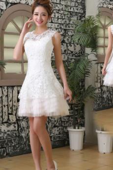 Krajka Bez rukávů Kolena délka Střední A-Čára Zahrada Svatební šaty