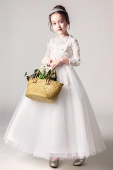 Zip nahoru T-shirt rukáv Střední A-Čára Květinové dívky šaty