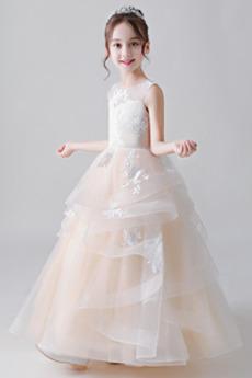 Formální Střední Organza Vícevrstvý Přírodní pas Květinové dívky šaty